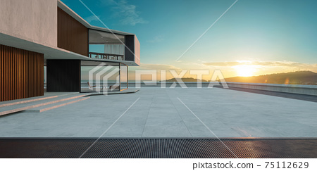 Empty cement floor with steel and modern building exterior. 3d 75112629