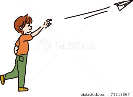 종이 비행기를 날리는 소년의 그림 75112667