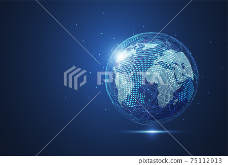 Global network connection. World map point and line composition concept of global business. Vector Illustration 75112913