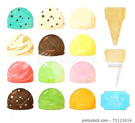 冰淇淋的水彩風格插圖 75113014