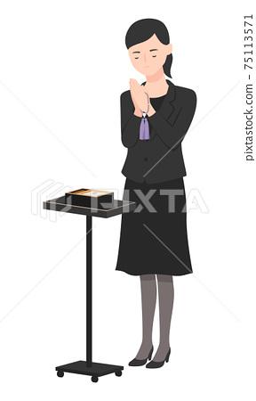 一個女人在哀悼。握在香火前面的婦女的例證手站立。 75113571