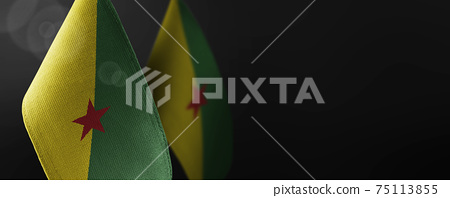 Small national flags of the French Guiana on a dark background 75113855