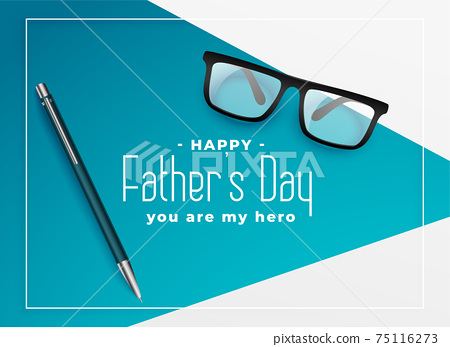 happy fathers day background with eye glasses and pen 75116273