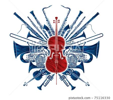 Orchestra Instruments Set Cartoon Graphic Vector 75116330