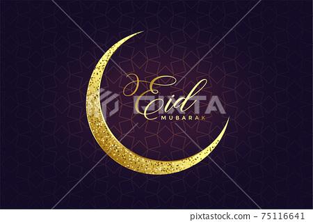 golden glitter eid moon design background 75116641