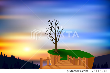 landscape of cliff on the mountain in the morning 75116948