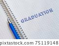 Graduation. Lettering in a school notebook 75119148