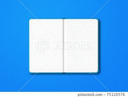 Cyan open lined notebook isolated on blue background 75120578