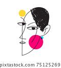Abstract modern style line art woman portrait design. 75125269