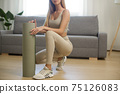Sporty Woman with Yoga Mat at Home 75126083