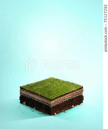 Travel and sport background. IIlustration with cut of the ground and the grass landscape with the cut of the stadium field. 75127292
