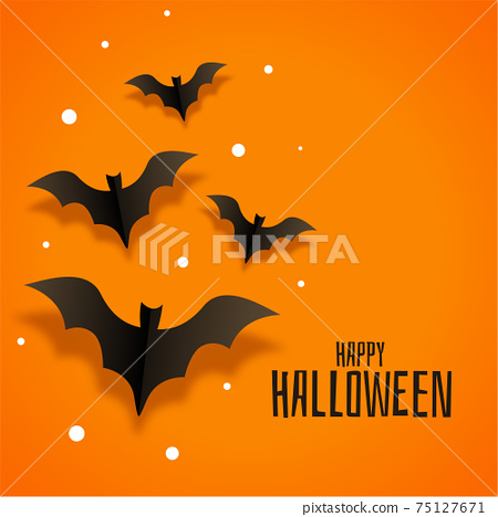 origami paper bats background for happy halloween 75127671