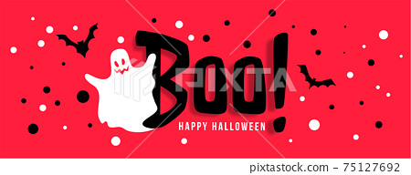 happy halloween celebration banner with white ghost 75127692