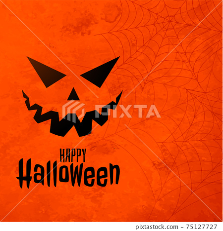 happy halloween orange background with laughing ghost face 75127727