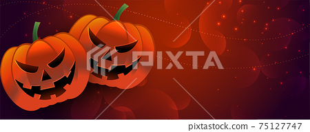 halloween scary pumpkin banner with text space 75127747