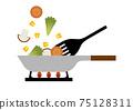Stir-fried vegetables frying pan illustration 75128311