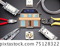 Residential electrical work image Home electrical work image Construction site Empty panel Solar power system construction image 75128322