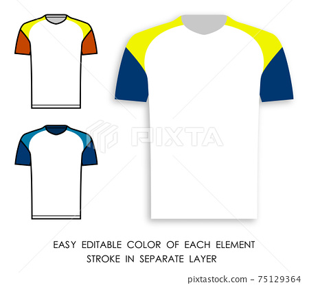 soccer player t shirt color icon. Sports uniform of fotball player. Layout of athletes on field. Vector 75129364