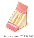 Fastfood sandwich, a digital painting of triangle sliced bread with tomato, chicken and ham in packaging for takeaway breakfast food isometric cartoon icon raster 3D illustration on white background. 75132362