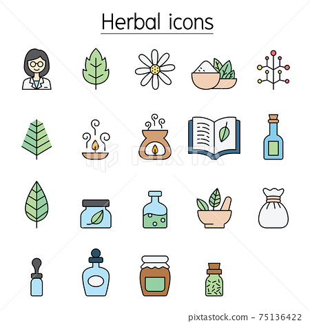 Herbal color line icon set 75136422
