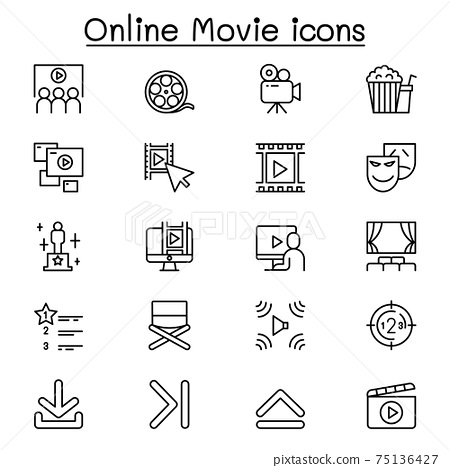 Online movie icon set in thin line style 75136427