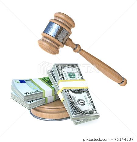 Gavel with money Symbol of corruption 3D 75144337