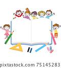 Children studying around study notes 75145283