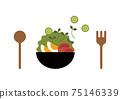 Salad and tableware illustration 75146339