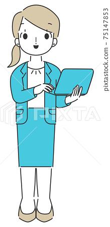 비지니스 컴퓨터를 조작하는 여성 심플 75147853