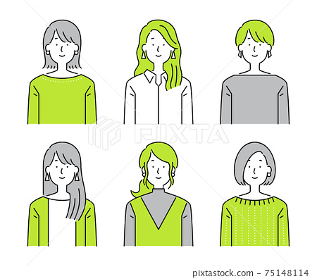 미소 성인 여성의 간단한 일러스트 75148114
