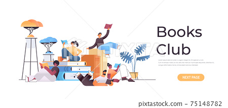 group of mix race people reading books together in modern book club horizontal full length 75148782