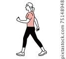 Walking exercise female exercise illustration hand-painted 75148948