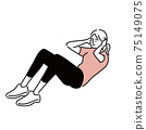 Abdominal exercise female exercise illustration hand-painted 75149075