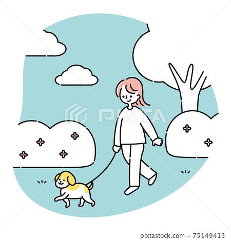 女人和一隻狗在公園散步 75149413