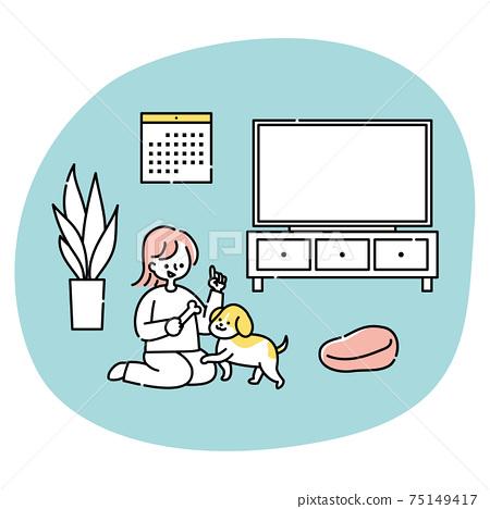 女人和一隻狗在客廳裡玩 75149417