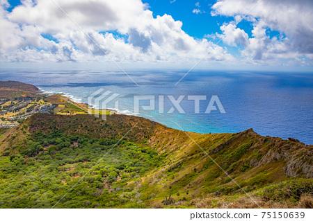 夏威夷海,山和天空 75150639