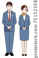 Business scene: Men and women with basic posture 75152358