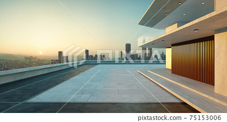 Empty cement floor with modern building exterior. 3d 75153006