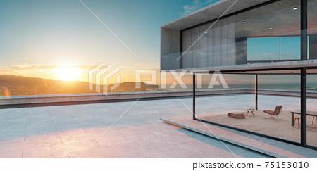 Empty cement floor with modern building exterior. 3d 75153010
