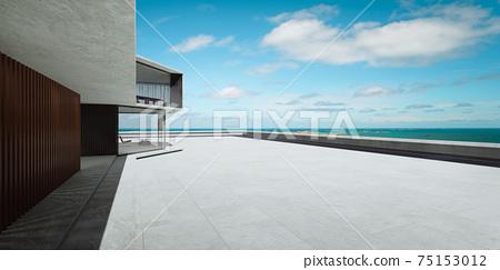 Empty cement floor with modern building exterior. 3d 75153012