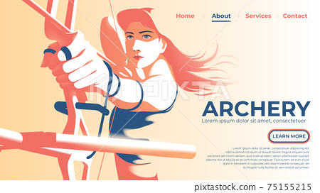 Vector illustration for UI or a landing page of the female archer is pulling the bow and ready to shoot with determination eyes. 75155215