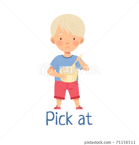 Little Blond Boy Picking At Saucepan with Porridge Showing Dislike Vector Illustration 75156511