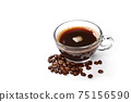 Glass cup of coffee and coffee beans isolated on white background 75156590