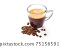 Glass cup of espresso coffee and coffee beans isolated on white background 75156591