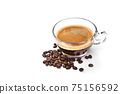 Glass cup of espresso coffee and coffee beans isolated on white background 75156592
