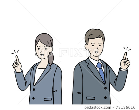 Office worker finger pointing pose, gesture, men and women in suits, illustration material 75156616