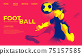 Vector illustration for ui or a landing page of the soccer or football player is hitting the ball with head to make a goal. 75157585