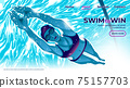 A vector illustration for UI or landing page of the female swimming athlete is diving underwater in the swimming pool with the determination eyes 75157703
