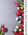 Pink tulips over gray background 75158543