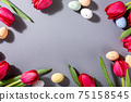Pink tulips over gray background 75158545